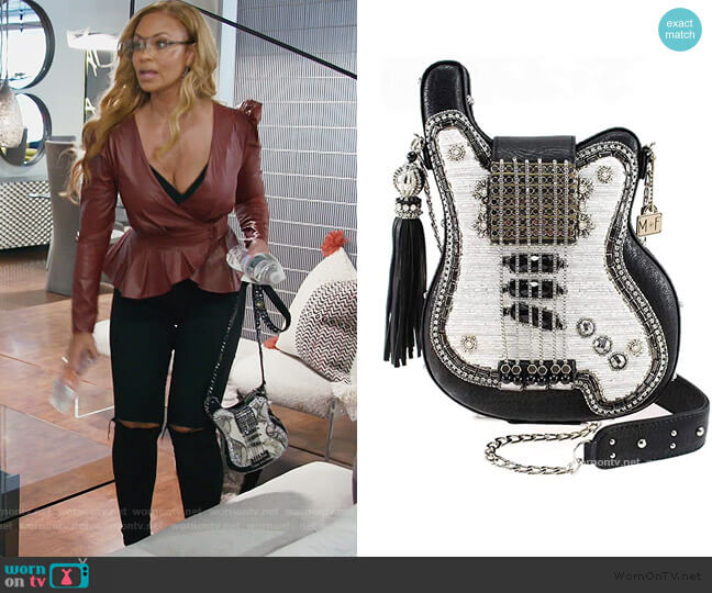 Greatest Hits Beaded Guitar Crossbody Handbag Purse by Mary Frances worn by Gizelle Bryant  on The Real Housewives of Potomac