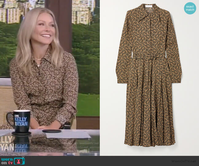 Paisley-print Silk Crepe De Chine Shirt Dress In Brown by Michael Kors worn by Kelly Ripa  on Live with Kelly & Ryan