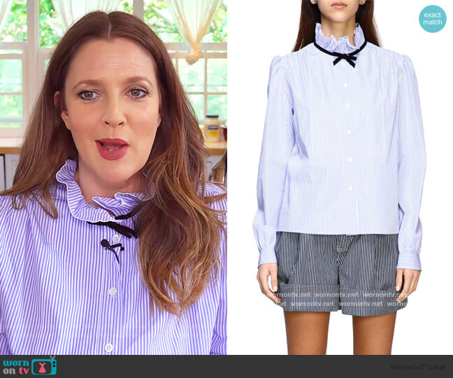 striped shirt with rouches collar and bow by Miu Miu worn by Drew Barrymore  on The Drew Barrymore Show