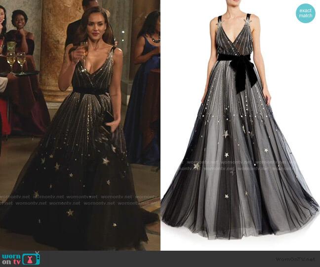 Star-Embroidered V-Neck Ball Gown by Monique Lhuillier worn by Nancy McKenna (Jessica Alba) on LA's Finest