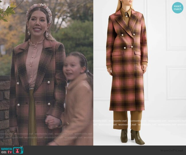 Mable embellished double-breasted checked wool coat by Mother of Pearl worn by Katherine (Katherine Ryan) on The Duchess