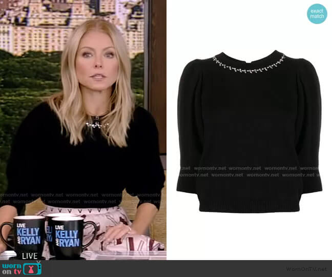 Nea Cropped Sleeve Jumper by Ba&Sh worn by Kelly Ripa  on Live with Kelly & Ryan