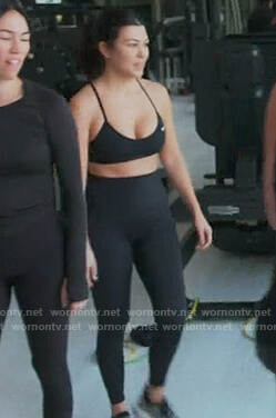 Kourtney's black nike sports bra on Keeping Up with the Kardashians