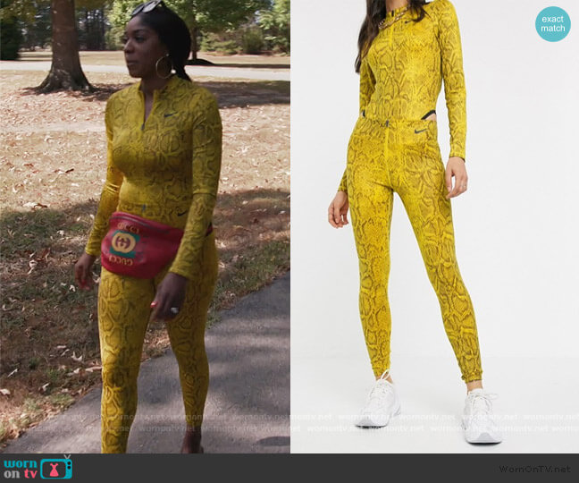 Snake Pring Long Sleeve Bodysuit and Leggings by Nike worn by Wendy Osefo  on The Real Housewives of Potomac