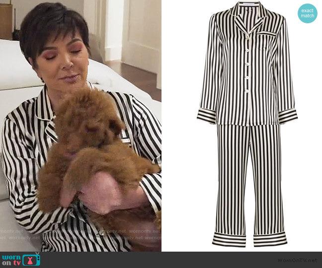 Lila striped silk-satin pajama set by Olivia Von Halle worn by Kris Jenner  on Keeping Up with the Kardashians