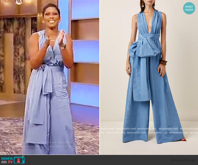 Moire Faile Wide-Leg Jumpsuit by Oscar De La Renta worn by Tamron Hall  on Tamron Hall Show