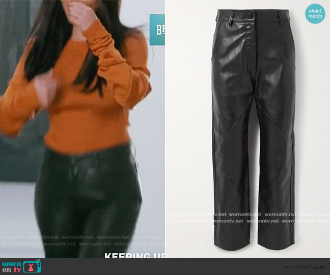 Hunter paneled leather straight-leg pants Petar Petrov worn by Kourtney Kardashian  on Keeping Up with the Kardashians