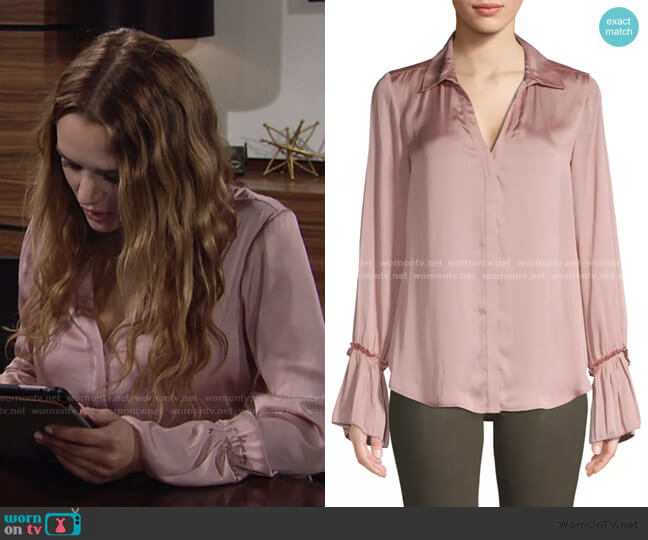 Abriana Ruffle Cuff Satin Shirt by Paige Jeans worn by Summer Newman (Hunter King) on The Young & the Restless