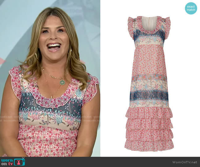 Paisley Garden Border Dress by Anna Sui worn by Jenna Bush Hager  on Today
