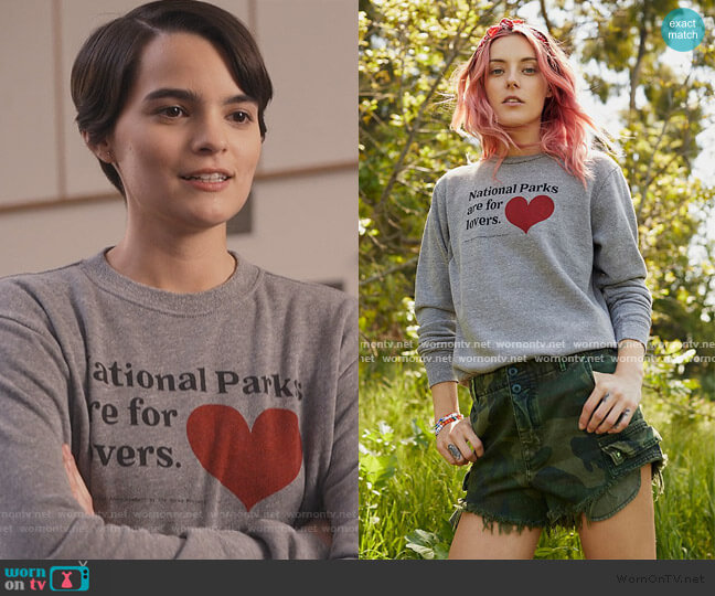 Parks Are For Lovers Sweatshirt by Parks Project worn by Elodie Davis (Brianna Hildebrand) on Trinkets