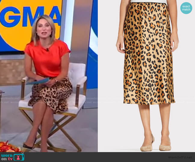 Tamra Leopard Print Skirt by Peyton Jensen worn by Amy Robach  on Good Morning America