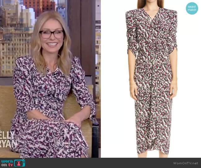 Print Ruched Ruffle Stretch Silk Midi Dress by Isabel Marant worn by Kelly Ripa  on Live with Kelly & Ryan