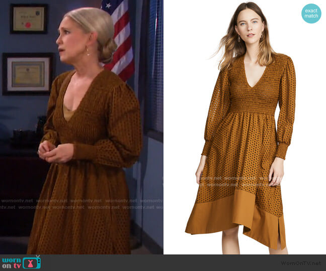 Long Sleeve Smocked Top Dres by Proenza Schouler White Label worn by Jennifer Horton (Melissa Reeves) on Days of our Lives