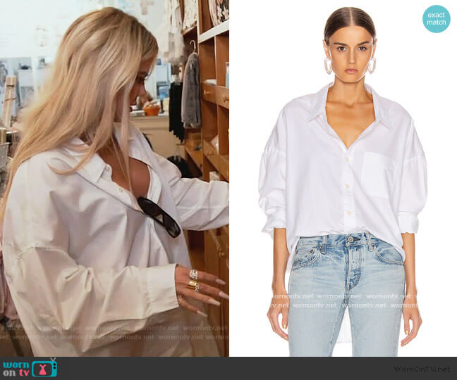 White Drop Neck Shirt by R13 worn by Khloe Kardashian  on Keeping Up with the Kardashians