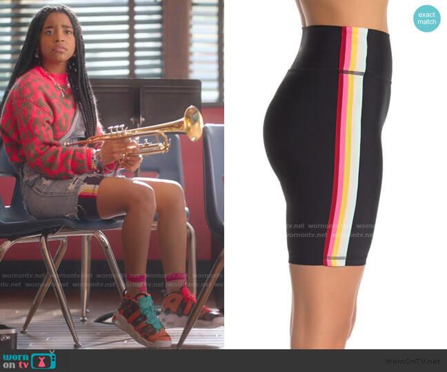 Rainbow Side Stripe Bike Shorts by Spiritual Gangster worn by Flynn (Jadah Marie) on Julie & the Phantoms
