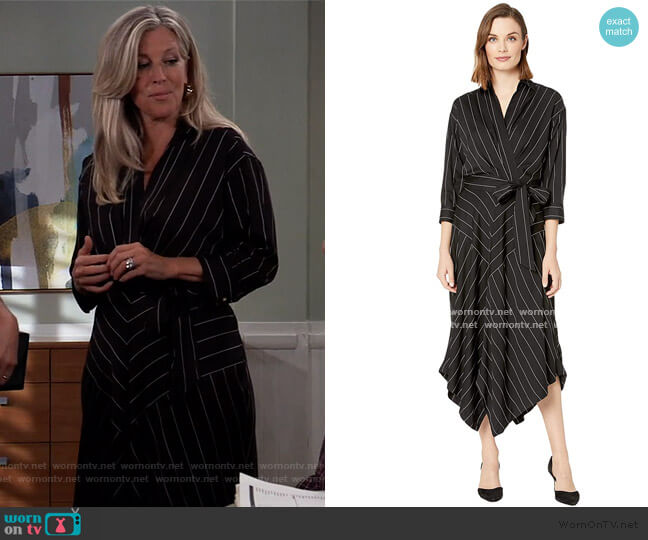 Collared Surplice Dress by Ralph Lauren worn by Carly Corinthos (Laura Wright) on General Hospital