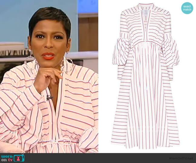 lantern-sleeve stripe midi dress by Rosie Assoulin worn by Tamron Hall  on Tamron Hall Show