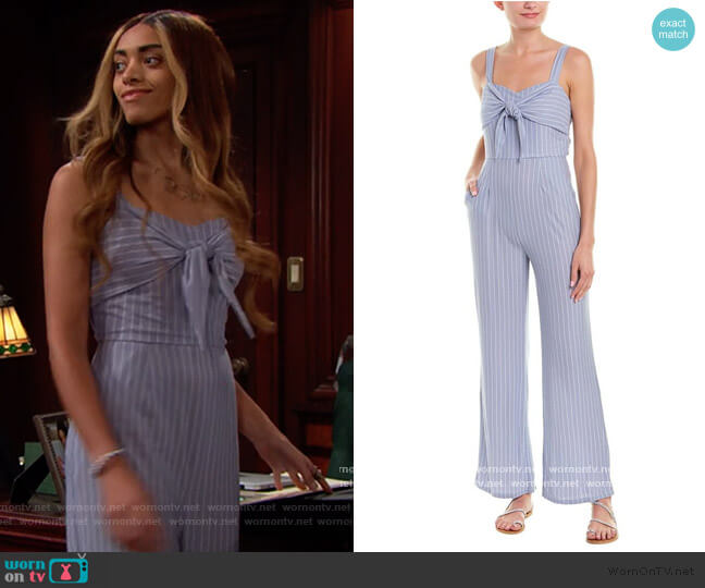 Wild One Striped Tie-Detail Jumpsuit by Sage the Label worn by Zoe (Kiara Barnes) on The Bold & the Beautiful