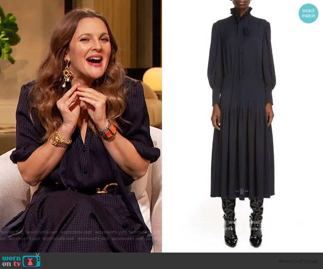 Houndstooth Jacquard Long Sleeve Midi Dress by Saint Laurent worn by Drew Barrymore  on The Drew Barrymore Show