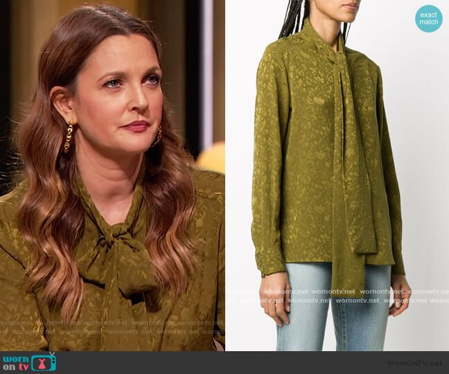 Tie neck Silk Jacquard Shirt by Saint Laurent worn by Drew Barrymore  on The Drew Barrymore Show