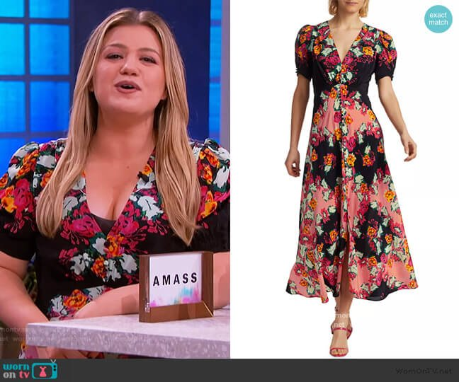 Lea Floral Silk Maxi Dress by Saloni worn by Kelly Clarkson  on The Kelly Clarkson Show