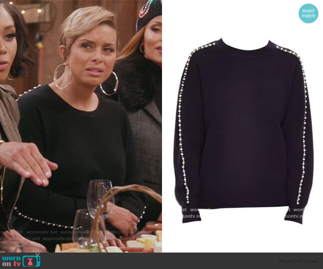 Wool Blend Embellished Crew Sweater by Sandro worn by Robyn Dixon  on The Real Housewives of Potomac