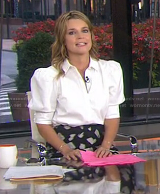 Savannah's white puff sleeve blouse on Today