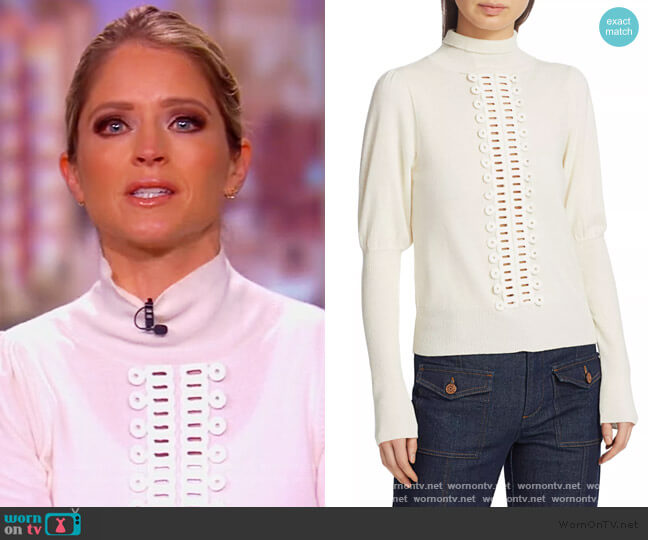 Lace Trim Knit Turtleneck by See by Chloe worn by Sara Haines  on The View