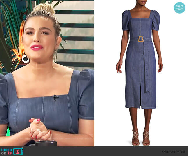 Candelaria Denim Dress by Shoshanna worn by Carissa Loethen Culiner  on E! News