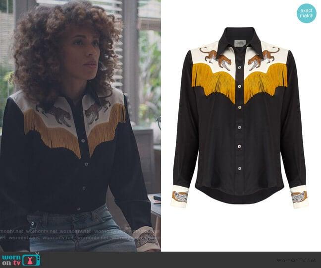 Black Leopard Cowboy Shirt with Fringing by Silken Favours worn by Bev (Michelle de Swarte) on The Duchess