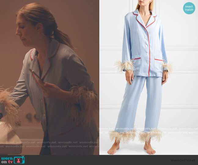 Satin and feather-trimmed crepe de chine pajama set by Sleeper worn by Katherine (Katherine Ryan) on The Duchess