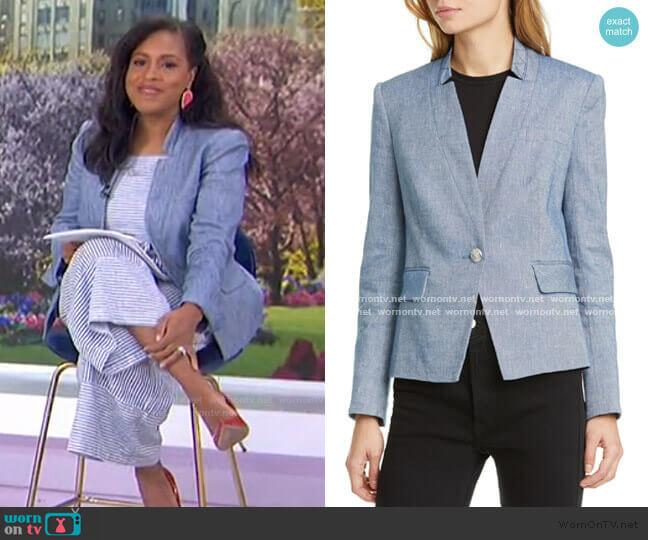 Slim-Fit High-Collar Blazer by Veronica Beard worn by Sheinelle Jones  on Today