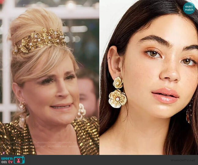 Floral Pearl Dangle Earrings by Sonja worn by Sonja Morgan  on The Real Housewives of New York City