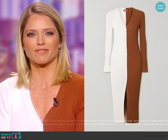 Shoko two-tone ribbed stretch-knit cardigan by Staud worn by Sara Haines  on The View