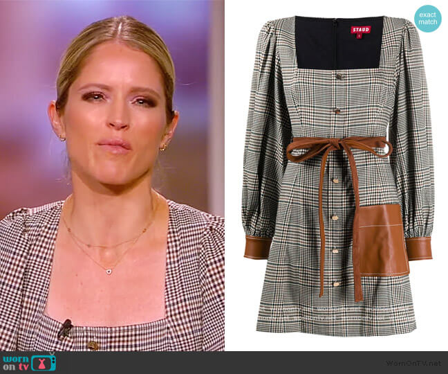 Checked Tie Waist Dress by Staud worn by Sara Haines  on The View