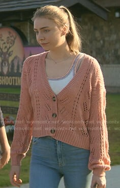 Sterling's rainbow trim tank and pink cardigan on Teenage Bounty Hunters
