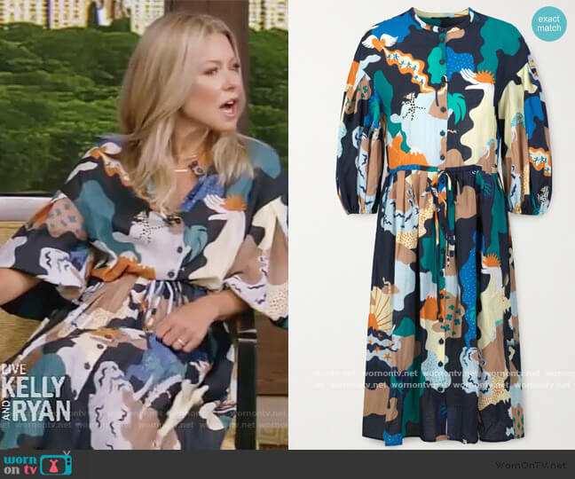 + NET SUSTAIN India printed voile dress by Stine Goya worn by Kelly Ripa  on Live with Kelly & Ryan