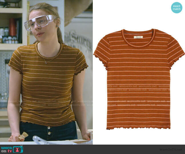 Stripe Print Cropped Baby T-Shirt by Madewell worn by Sterling Wesley (Maddie Phillips) on Teenage Bounty Hunters