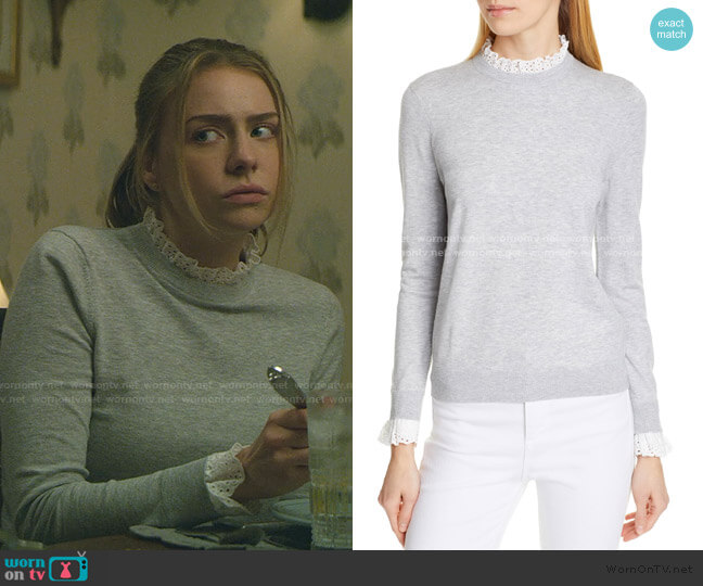 Kaytiie Broderie Lace Collar & Cuff Sweater by Ted Baker worn by Sterling Wesley (Maddie Phillips) on Teenage Bounty Hunters