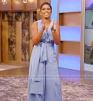 Tamron's blue silk tie jumpsuit on Tamron Hall Show