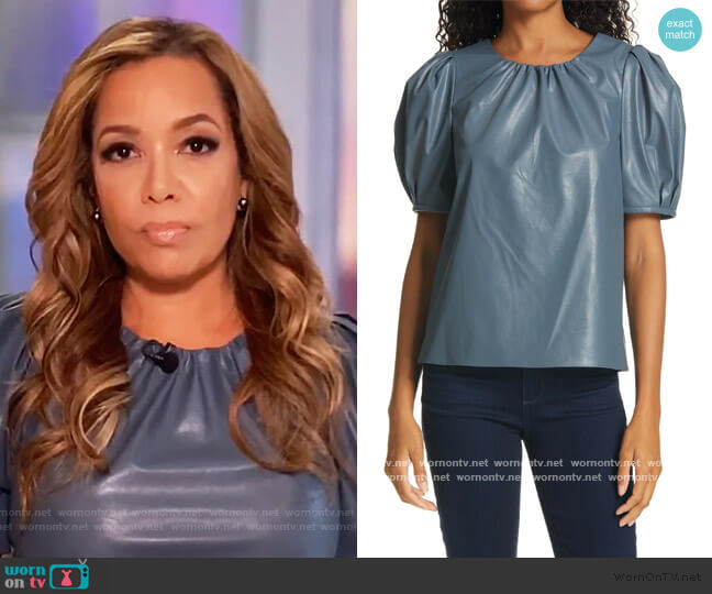 Carol Faux Leather Puff Sleeve Top by Tanya Taylor worn by Sunny Hostin  on The View