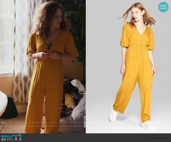 Mustard Puff Jumpsuit by Wild Fable at Target worn by Ashley Darby  on The Real Housewives of Potomac