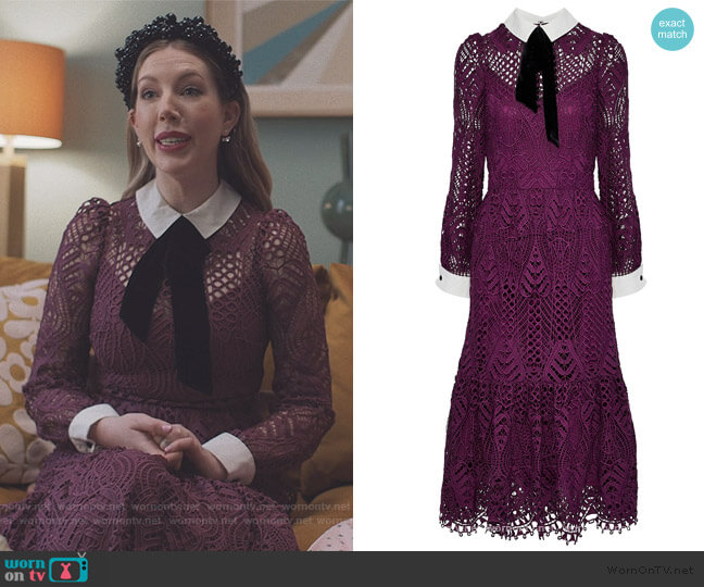 New Moon velvet-trimmed corded lace midi dress by Temperly London worn by Katherine (Katherine Ryan) on The Duchess