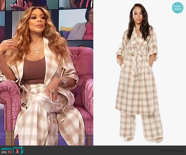 She Loves the Attention Plaid Trench and Pants by The Cara Santana Collection worn by Wendy Williams  on The Wendy Williams Show