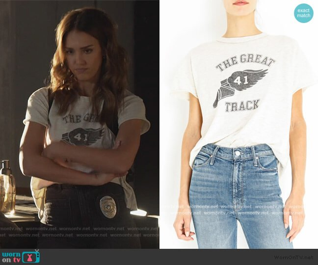 The Great 41 Track Tee by The Great worn by Nancy McKenna (Jessica Alba) on LA's Finest