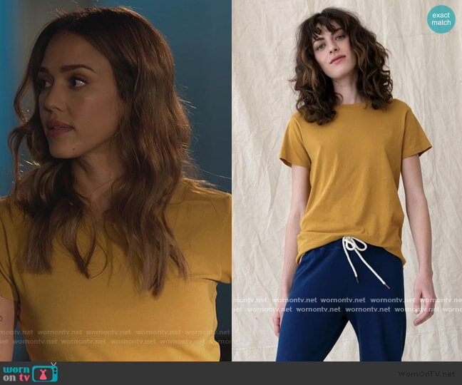 The Slim Tee in Butterscotch by The Great worn by Nancy McKenna (Jessica Alba) on LA's Finest