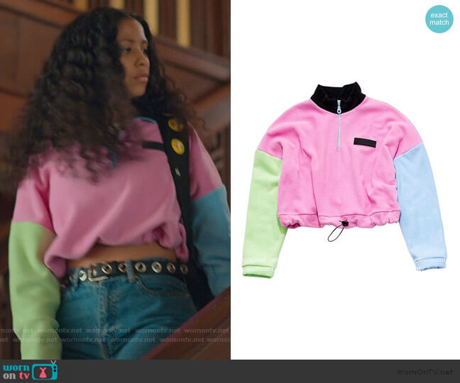 Colorblock Sweater by Hayley Elsaesser worn by Julie (Madison Reyes) on Julie & the Phantoms