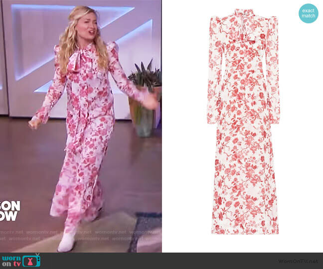 The Unconditional dress by The Vampires Wife worn by Beth Behrs on The Kelly Clarkson Show
