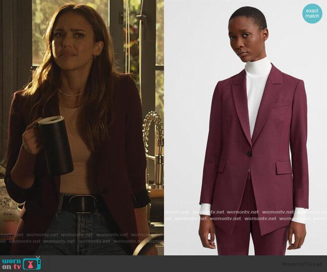 Etiennette Blazer by Theory in Mulberry worn by Nancy McKenna (Jessica Alba) on LA's Finest