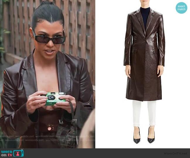 Varnished Leather Coat by Theory worn by Kourtney Kardashian  on Keeping Up with the Kardashians